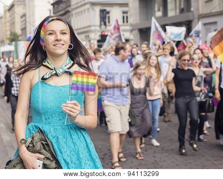 RIGA, LATVIA - JUNE 20: An unidentified girl taking part in Pride Parade 2015 on June 20, 2015 in Riga, Latvia Riga hosted Europride in 2015 Dates 15 June - 21 June