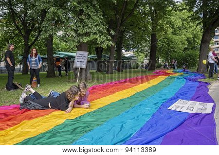 RIGA, LATVIA - JUNE 20: EuroPride 2015 in Riga on JUNE 20, 2015.  Riga hosted Europride in 2015. Dates 15 June - 21 June. Theme - 'Be the Change! Make History! Changing history is hot!'