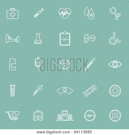 Medical Line Icons On Green Background