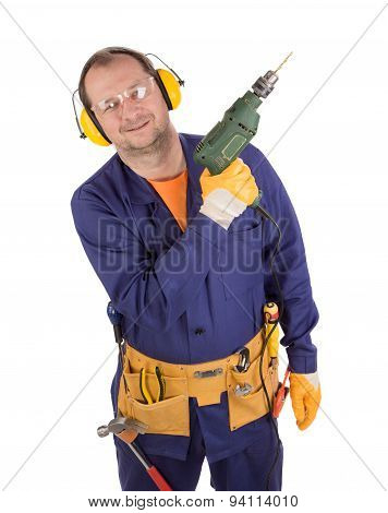 Worker on ladder with drill.