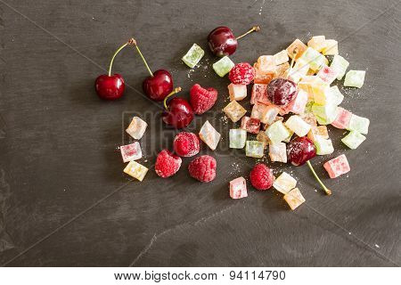 Turkish Delight With Ripe Raspberries And Blueberries