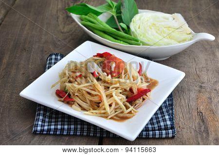 Papaya Salad, Spicy Thai Food.