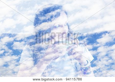 Double Exposure Dreamy Woman And Blue Sky.