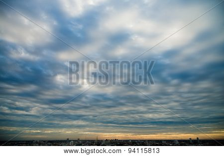 Beautiful Cloudy Sky In Sunset  In City Of Bangkok