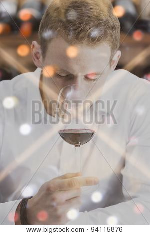 Double Exposure Man Smelling The Wine And A Wine Rack .