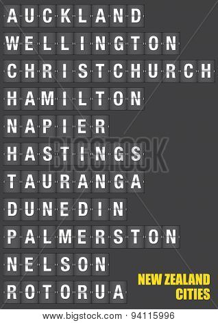 Cities Of New Zealand On Split Flap Flip Board Display