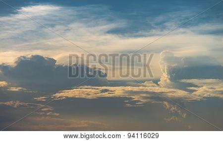 Golden Twilight Sky With Cloud