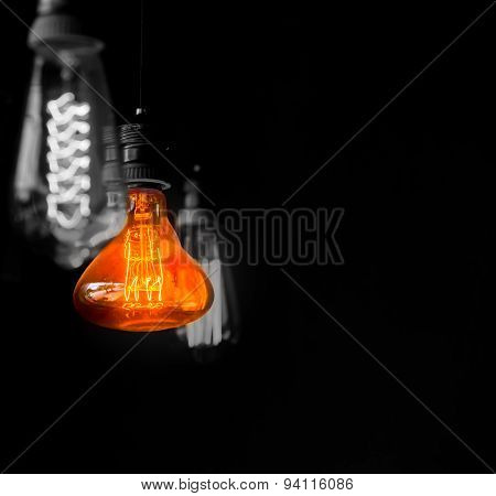 Hanged  Orange Decoration Light Bulbs Split Tone  Color With Black And White