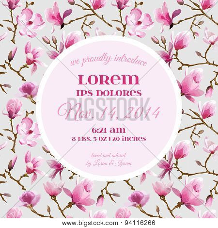 Baby Arrival or Shower Card - with Peony Flower Design - in vector