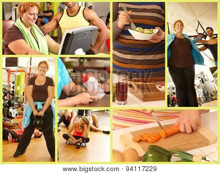 Image mosaic of weight loss, fat woman doing workout, eating healthy, dieting, changing lifestyle.