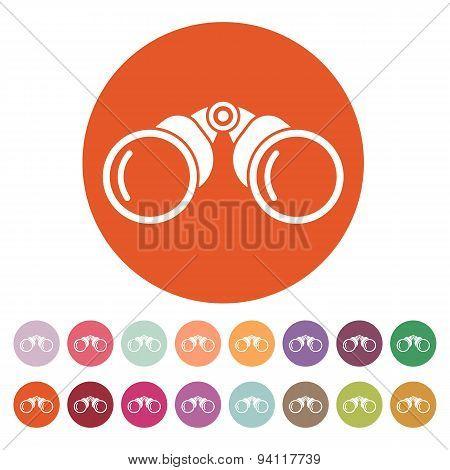 The Binoculars Icon. Search Symbol. Flat