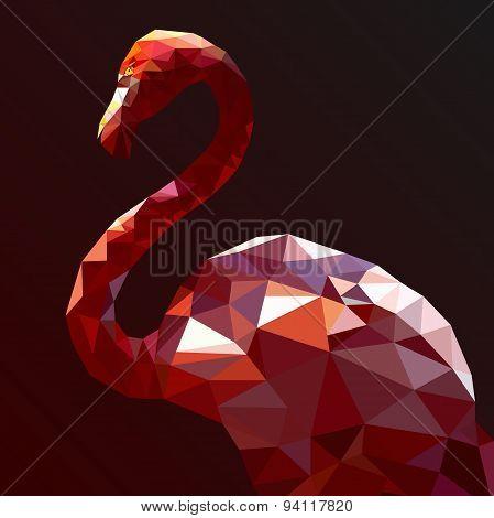 Low Poly Flamingo vector art