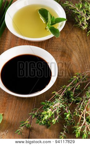 Olive Oil, Balsamic Vinegar And Herbs