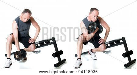 Bicep curl exercise with dumbbell. Studio shot over white.