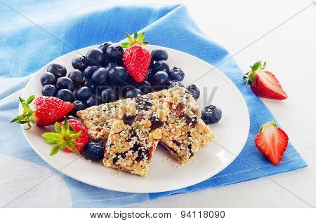 Granola Bars With Fresh Berries For A Breakfast.