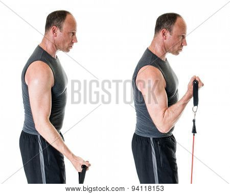 Bicep curl exercise with resistance band. Studio shot over white.