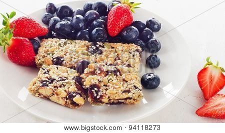 Granola Bars With Fresh Berries For  Healthy Breakfast.