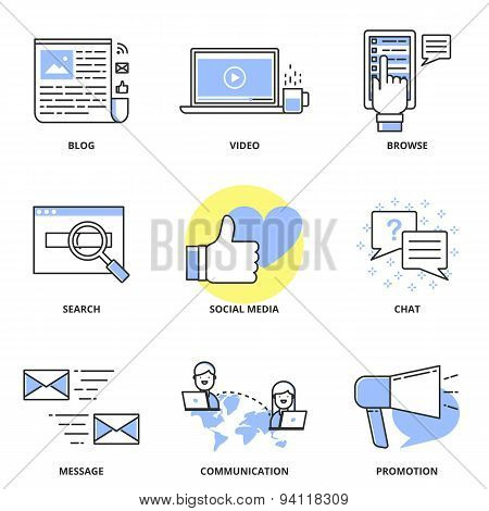 Social Media Marketing And Internet Vector Icons Set