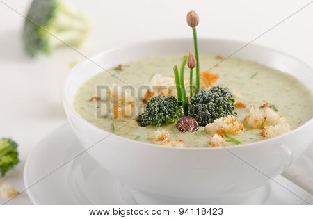 Delicious Creamy Vegetable Soup In  A Bowl.