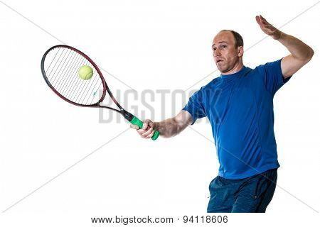 Tennis action shot. Forehand. Studio shot over white.