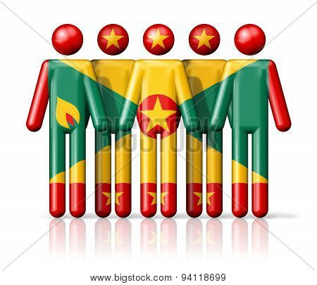 Flag Of Grenada On Stick Figure