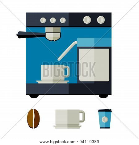 Coffee machine, cups, glasses, coffee bean. Flat style vector illustration.