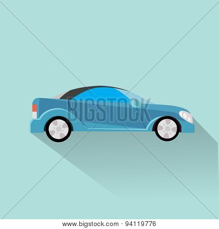 Car side view. Vector flat design