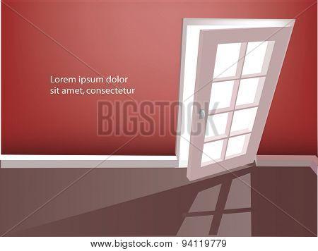 Open door in a empty red room. Vector illustration.