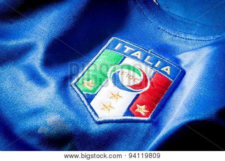 SAO PAULO, BRAZIL - CIRCA AUG 2014: Italian soccer logo on an official jersey.