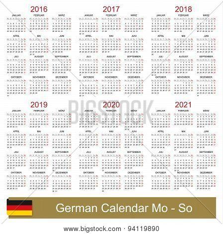 Calendar 2016-2021