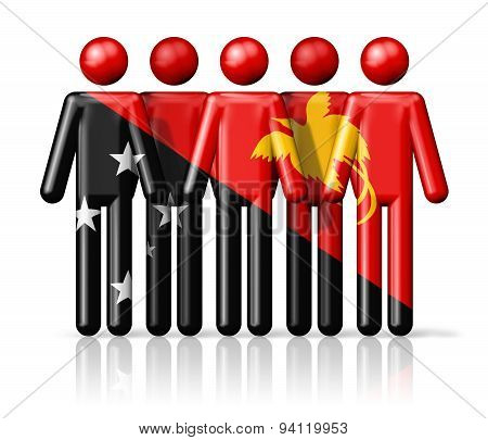 Flag Of Papua New Guinea On Stick Figure