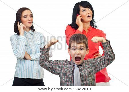 Exasperated Child Shout About Women On Phone