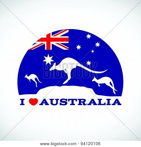 I love Australia and  Kangaroo and australia flag