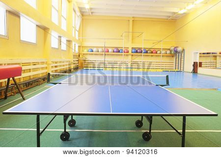 Ping-pong table in a sport hall