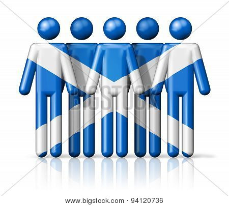 Flag Of Scotland On Stick Figure