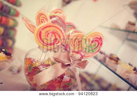 Colorful Candy On Sticks