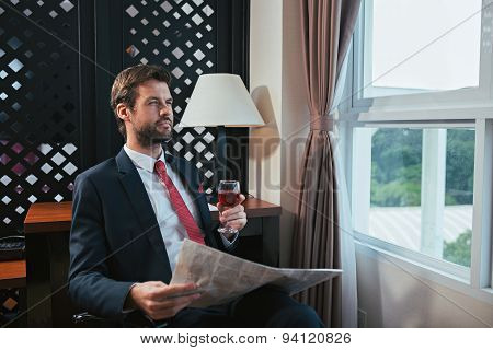 Pensive rich businessman