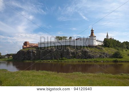 Verkhotursky Kremlin with Trinity Cathedral. Verkhoturye.