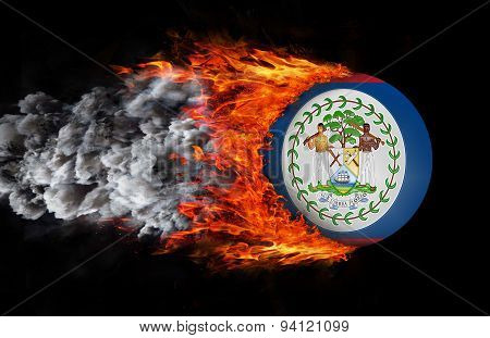 Flag With A Trail Of Fire And Smoke - Belize