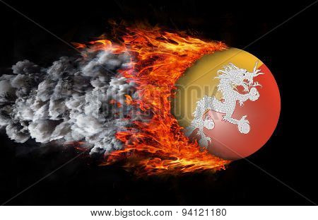 Flag With A Trail Of Fire And Smoke - Bhutan