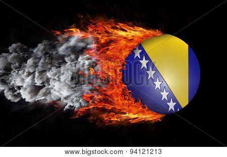 Flag With A Trail Of Fire And Smoke - Bosnia