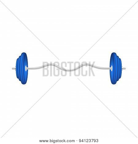 Barbell in silver and blue design