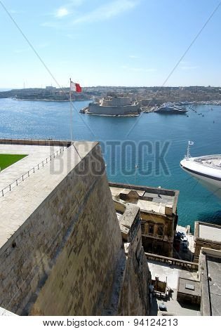 Architecture of Barrakka Gardens in Valletta, Malta