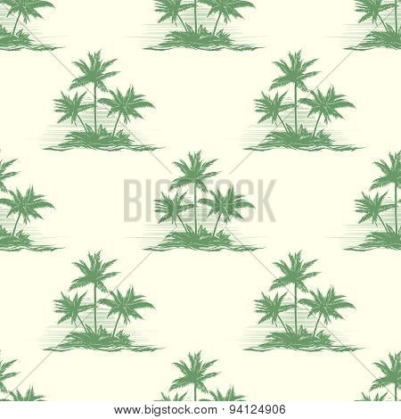 Vintage floral or summer seamless pattern with palm trees