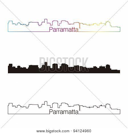 Parramatta Skyline Linear Style With Rainbow