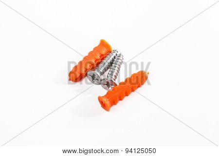 Orange color Plastic cleat  and screw on white