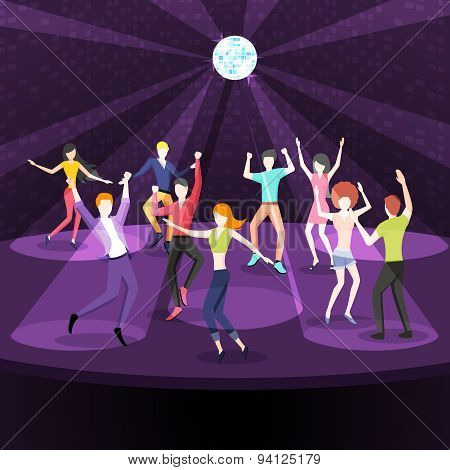 People dancing in nightclub. Dance floor flat style design