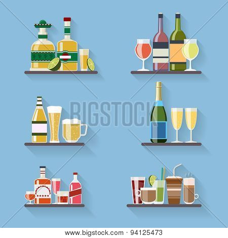 Booze or drinks flat icons on tray at bar