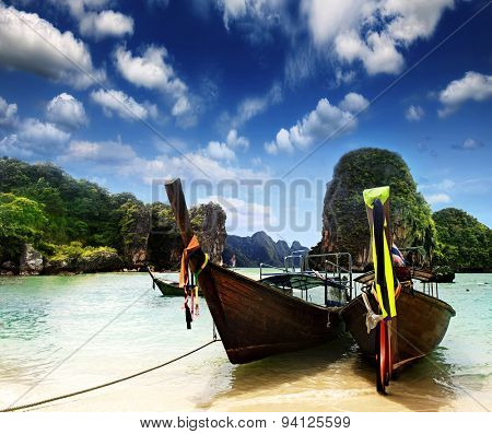 Traditional Thai boat on the shore of the Andaman Sea