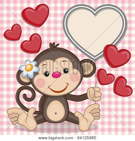 Monkey And Hearts